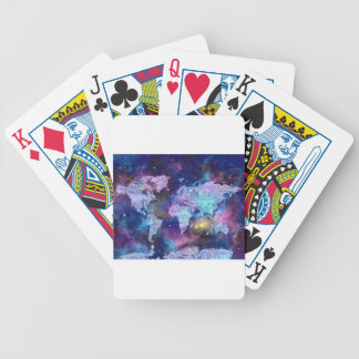 world map galaxy blue 4 bicycle playing cards