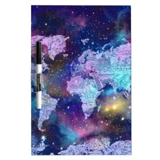 world map galaxy blue 4 dry erase white board