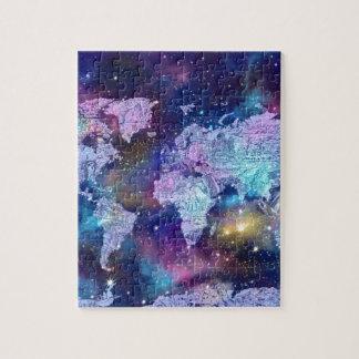 world map galaxy blue 4 jigsaw puzzle
