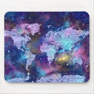 world map galaxy blue 4 mouse pad