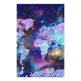 world map galaxy blue 4 stationery