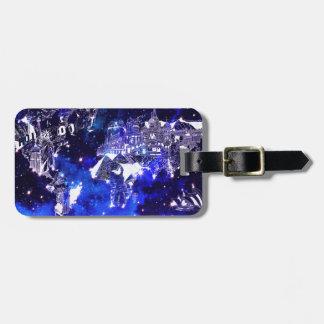 world map galaxy blue luggage tag
