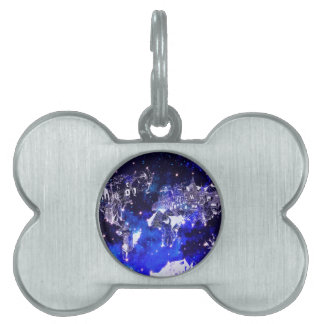 world map galaxy blue pet name tag