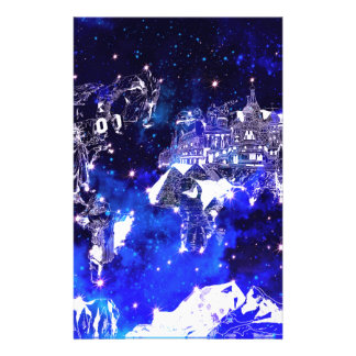 world map galaxy blue stationery