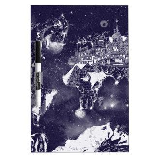 world map galaxy purple dry erase board
