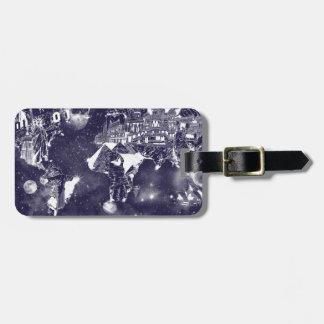 world map galaxy purple luggage tag