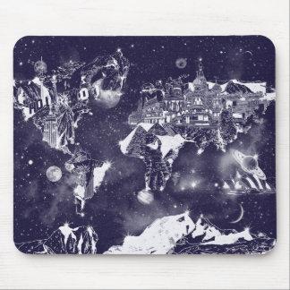 world map galaxy purple mouse pad