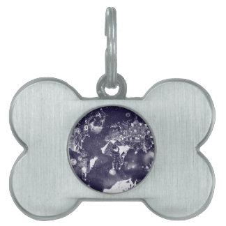 world map galaxy purple pet tag