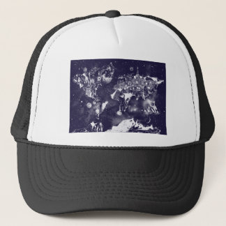 world map galaxy purple trucker hat