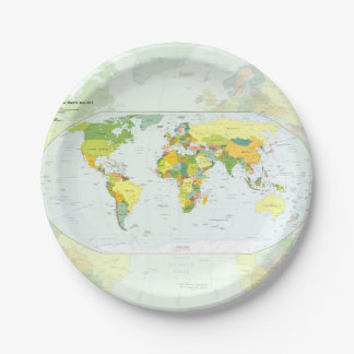 World Map Globe Atlas Countries 7 Inch Paper Plate
