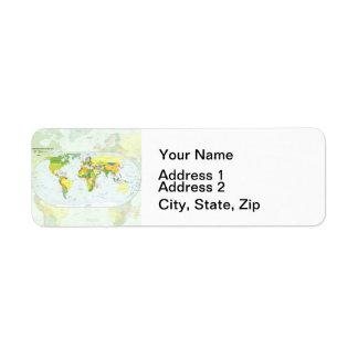World Map Globe Atlas Countries Return Address Label