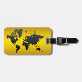 World Map Gold Black Professional Chic Modern Luggage Tag