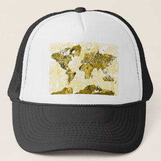 world map gold trucker hat