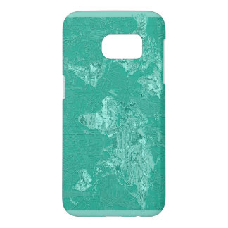 world map green 1 samsung galaxy s7 case