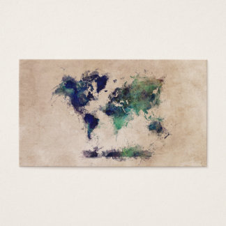 world map green splash business card