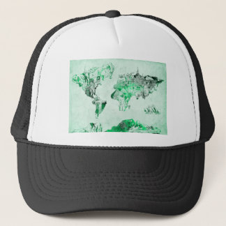 world map green trucker hat