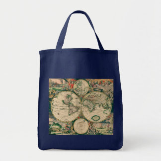 World Map Grocery Tote