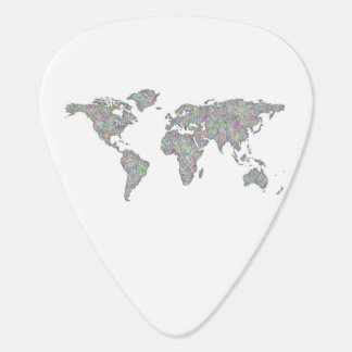 World map guitar pick