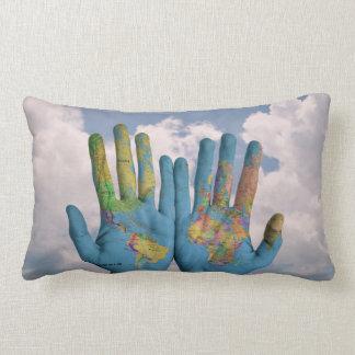 world map hands pillow