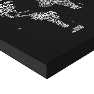 World Map Handwritten Typography, Black and White Canvas Print