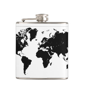 WORLD MAP HIP FLASK