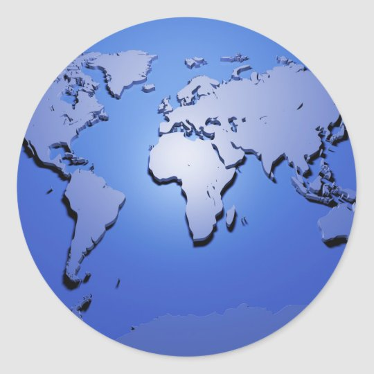 World map in blue classic round sticker zazzle world map in blue classic round sticker gumiabroncs Image collections