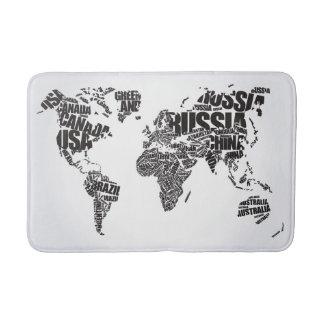 World Map in Typography Bath Mat