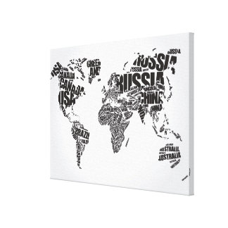 World Map in Typography Canvas Print