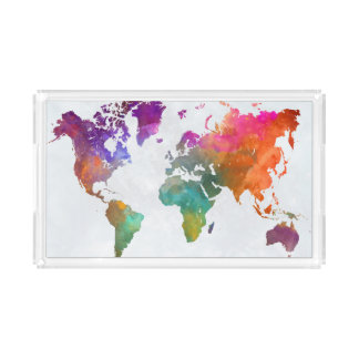 World Map In Watercolor Acrylic Tray