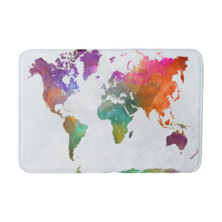 World Map In Watercolor Bathroom Mat
