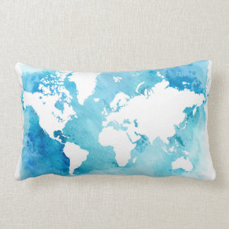 World Map In Watercolor Blues Lumbar Pillow