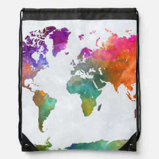 World Map In Watercolor Drawstring Bag