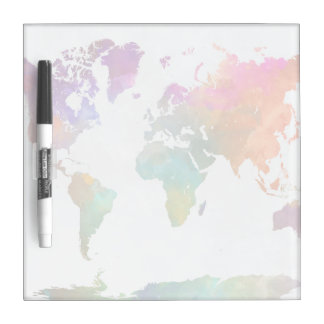World Map In Watercolor Dry Erase Whiteboards