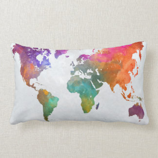 World Map In Watercolor Lumbar Pillow