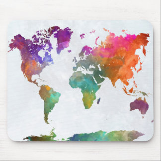 World Map In Watercolor Mouse Pad