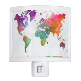 World Map In Watercolor Night Lite