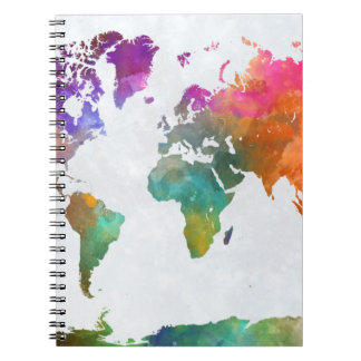 World Map In Watercolor Notebook