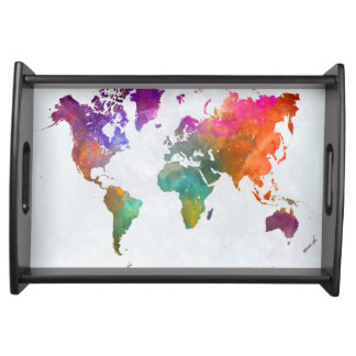 World Map In Watercolor Serving Tray