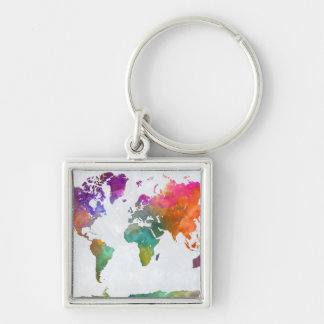 World Map In Watercolor Silver-Colored Square Keychain