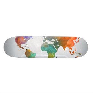 World Map In Watercolor Skate Decks