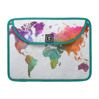 World Map In Watercolor Sleeve For MacBooks