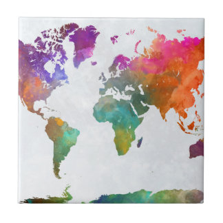 World Map In Watercolor Tile