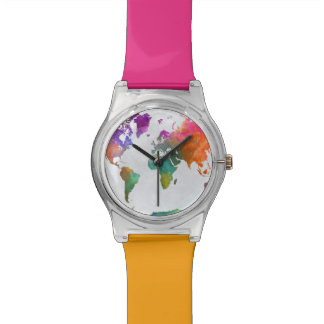 World Map In Watercolor Watch