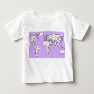 World Map ink in lilac pink T Shirt