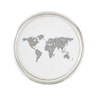 World map lapel pin