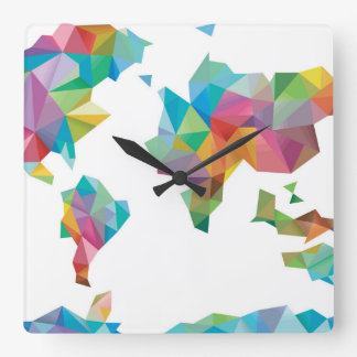 World Map Made of Geometric Shapes Square Wall Clock