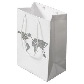 World map medium gift bag