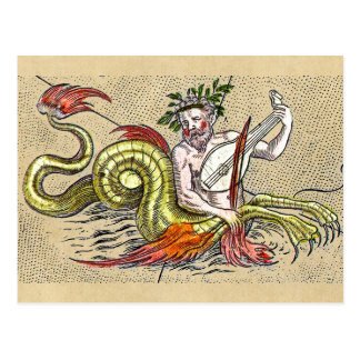 World Map Merman and Lyre Postcard