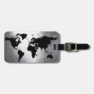 World Map Metal Luggage Tag