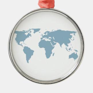 World Map Metal Ornament